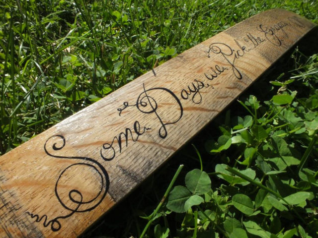 Hand Lettered Wine Stave for LaBelle Winery