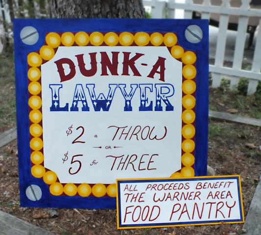 Dunk Tank Signs for Local Lawyer's Charity