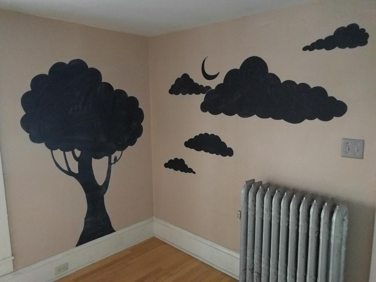 Chalkboard Mural in Kitchen