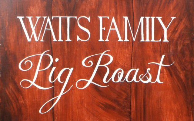 Lettering Detail on Family Pig Roast Sign